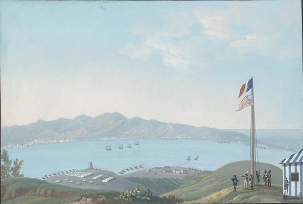 Dernier lever des couleurs françaises à la Nouvelle-Orléans, École américaine, 1803.